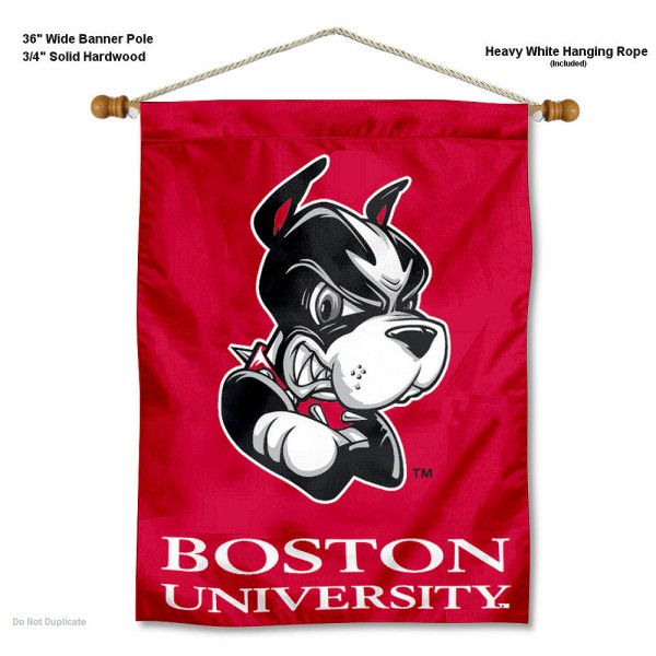"""Boston Terriers Wall Banner is constructed of polyester material, measures a large 30""""x40"""", offers screen printed athletic logos, and includes a sturdy 3/4"""" diameter and 36"""" wide banner pole and hanging cord. Our Boston Terriers Wall Banner is Officially Licensed by the selected college and NCAA."""