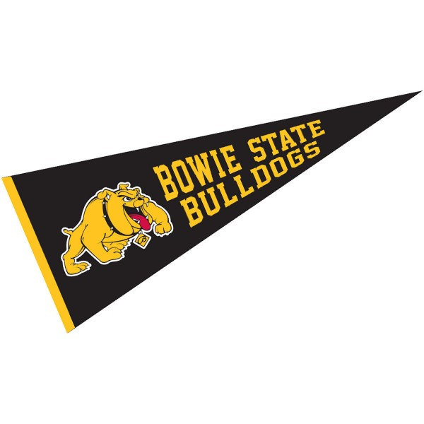 Bowie State Bulldogs Pennant measures 12x30 inches, is made of wool, and the School logos are printed with raised lettering. Our Bowie State Bulldogs Pennant is Officially Licensed and Approved by the University or Institution.