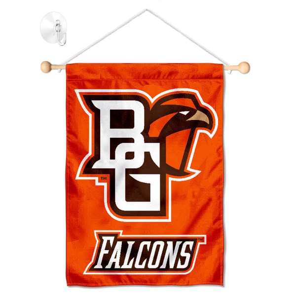 """Bowling Green State Falcons Banner with Suction Cup kit includes our 13""""x18"""" garden banner which is made of 2 ply poly with liner and has screen printed licensed logos. Also, a 17"""" wide banner pole with suction cup is included so your Bowling Green State Falcons Banner with Suction Cup is ready to be displayed with no tools needed for setup. Fast Overnight Shipping is offered and the flag is Officially Licensed and Approved by the selected team."""