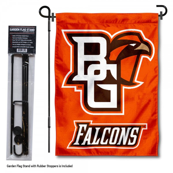 "Bowling Green State Falcons Garden Flag and Pole Stand kit includes our 13""x18"" garden banner which is made of 2 ply poly with liner and has screen printed licensed logos. Also, a 40""x17"" inch garden flag stand is included so your Bowling Green State Falcons Garden Flag and Pole Stand is ready to be displayed with no tools needed for setup. Fast Overnight Shipping is offered and the flag is Officially Licensed and Approved by the selected team."