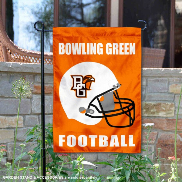 Bowling Green State Falcons Helmet Yard Garden Flag is 13x18 inches in size, is made of 2-layer polyester with Liner, screen printed university athletic logos and lettering, and is readable and viewable correctly on both sides. Available same day shipping, our Bowling Green State Falcons Helmet Yard Garden Flag is officially licensed and approved by the university and the NCAA.