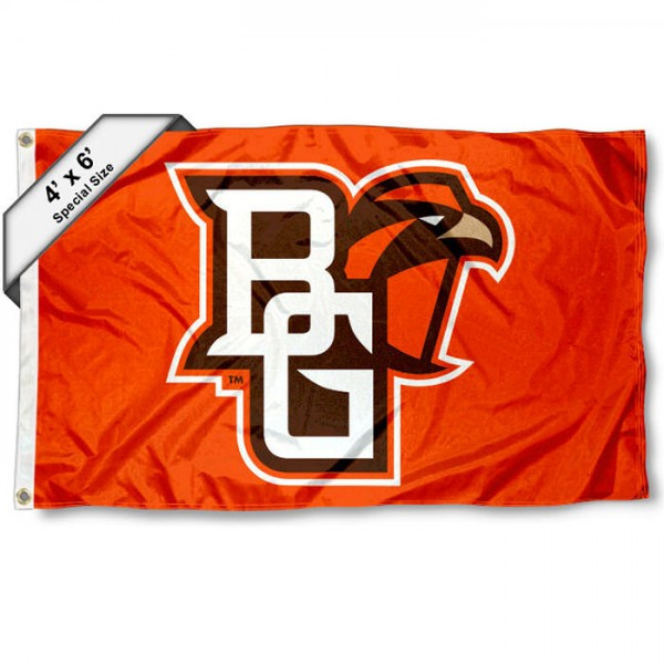 Bowling Green State Falcons Large 4x6 Flag measures 4x6 feet, is made thick woven polyester, has quadruple stitched flyends, two metal grommets, and offers screen printed NCAA Bowling Green State Falcons Large athletic logos and insignias. Our Bowling Green State Falcons Large 4x6 Flag is officially licensed by Bowling Green State Falcons and the NCAA.