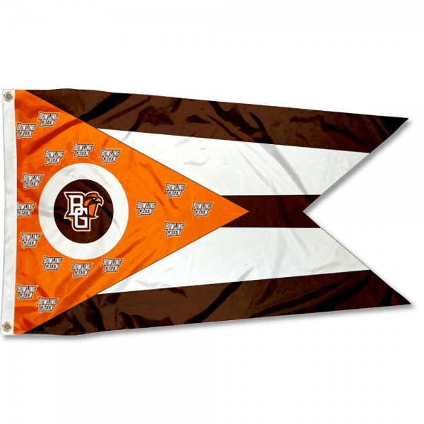 Bowling Green State Falcons State of Ohio Flag measures 3x5 feet, is made of 100% polyester, offers quadruple stitched flyends, has two metal grommets, and offers screen printed NCAA team logos and insignias. Our Bowling Green State Falcons State of Ohio Flag is officially licensed by the selected university and NCAA.