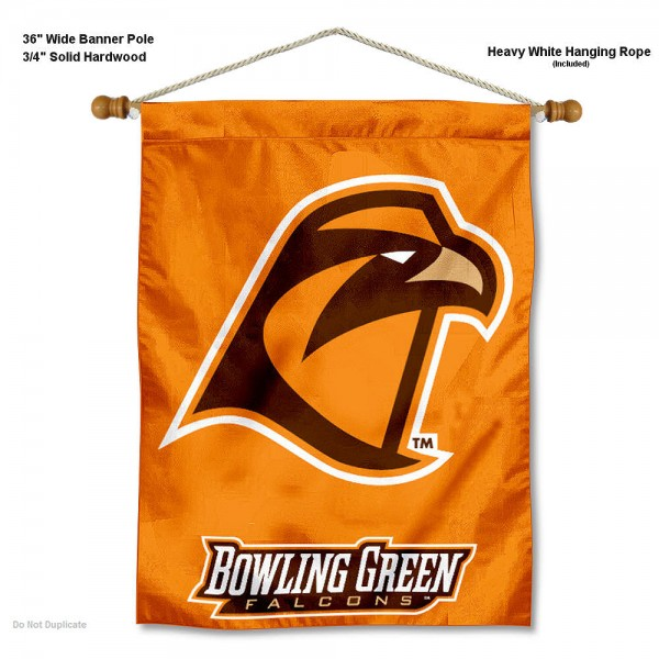 "Bowling Green State Falcons Wall Banner is constructed of polyester material, measures a large 30""x40"", offers screen printed athletic logos, and includes a sturdy 3/4"" diameter and 36"" wide banner pole and hanging cord. Our Bowling Green State Falcons Wall Banner is Officially Licensed by the selected college and NCAA."