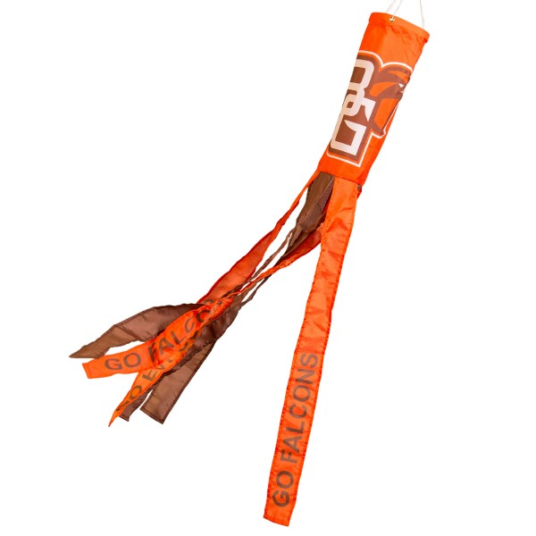 "Bowling Green State Falcons Windsock measures 40"" in length by 5"" in width, is made of 100% polyester, offers screen printed NCAA team logos, team names and insignias, has 6 alternative colored streamers and tails, includes a double stringed bridle and hanging swivel clip, and our Bowling Green State Falcons Windsock is authentic, licensed, and approved by the selected university or team."