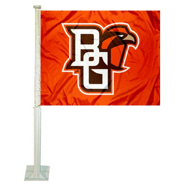 Bowling Green State University Car Window Flag measures 12x15 inches, is constructed of sturdy 2 ply polyester, and has dye sublimated school logos which are readable and viewable correctly on both sides. Bowling Green State University Car Window Flag is officially licensed by the NCAA and selected university.
