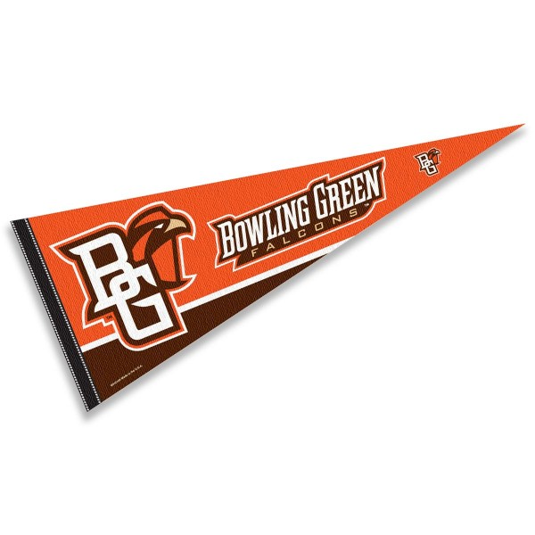 Bowling Green State University Felt Pennant consists of our full size sports pennant which measures 12x30 inches, is constructed of felt, is single sided imprinted, and offers a pennant sleeve for insertion of a pennant stick, if desired. This BGSU Falcons Felt Pennant is officially licensed by the selected university and the NCAA.