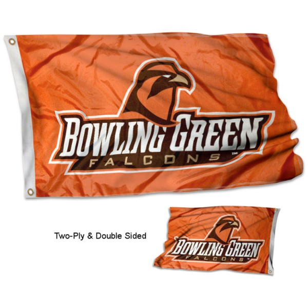 Bowling Green State University Flag measures 3'x5', is made of 2 layer 100% polyester, has quadruple stitched flyends for durability, and is readable correctly on both sides. Our Bowling Green State University Flag is officially licensed by the university, school, and the NCAA
