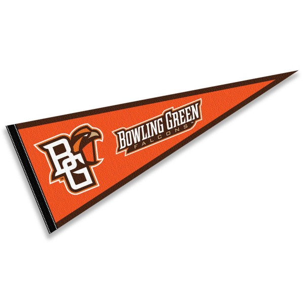 Bowling Green State University Wordmark Pennant consists of our full size sports pennant which measures 12x30 inches, is constructed of felt, is single sided imprinted, and offers a pennant sleeve for insertion of a pennant stick, if desired. This Bowling Green State University Wordmark Pennant Decorations is Officially Licensed by the selected university and the NCAA.