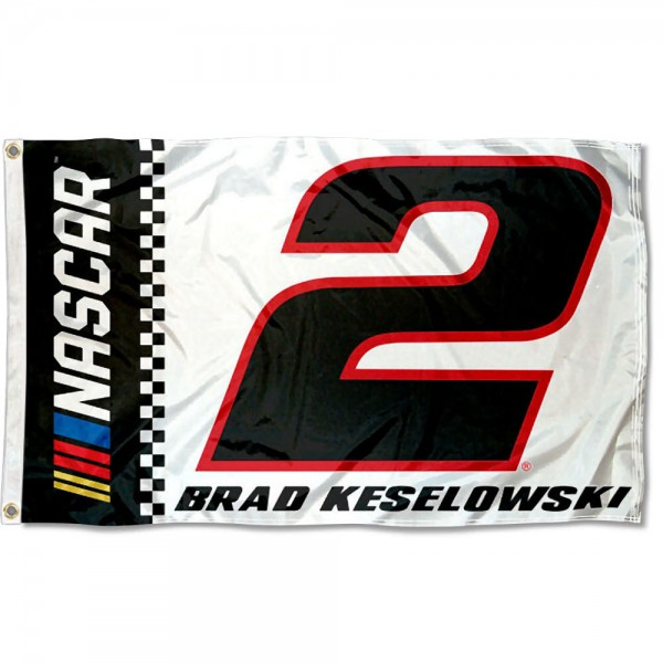 Brad Keselowski 3x5 Large Banner Flag is screen printed, made of one-ply polyester, quad stitched flyends, and measures 3x5 feet. Our Brad Keselowski 3x5 Large Banner Flag is approved by NASCAR.