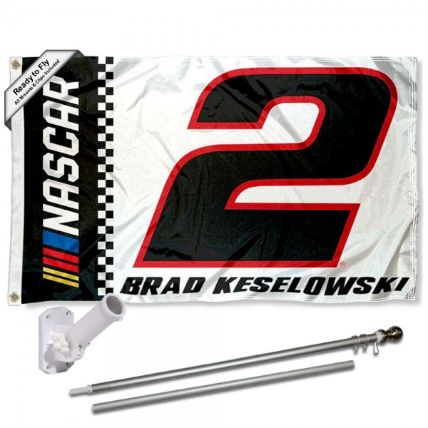 Our Brad Keselowski Flag Pole and Bracket Mount Kit includes the flag as shown and the recommended flagpole and flag bracket. The flag is made of polyester, has quad-stitched flyends, and the NASCAR Licensed driver logos are double sided screen printed. The flagPole and Bracket Mount are made of rust proof aluminum and includes all hardware so this kit is ready to install and fly.