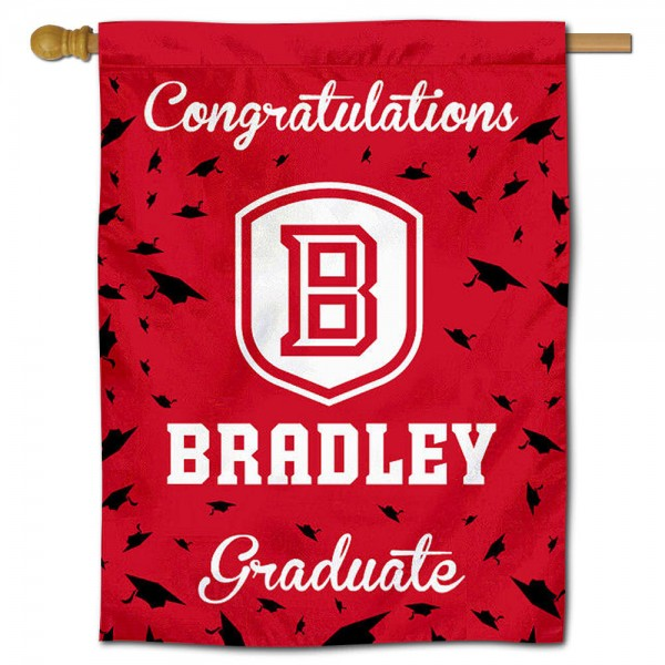 Bradley Braves Congratulations Graduate Flag measures 30x40 inches, is made of poly, has a top hanging sleeve, and offers dye sublimated Bradley Braves logos. This Decorative Bradley Braves Congratulations Graduate House Flag is officially licensed by the NCAA.