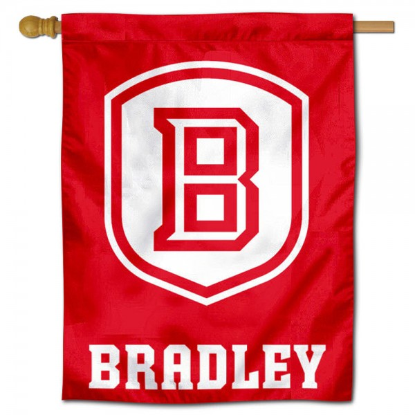"Bradley Braves House Flag is constructed of polyester material, is a vertical house flag, measures 30""x40"", offers screen printed athletic insignias, and has a top pole sleeve to hang vertically. Our Bradley Braves House Flag is Officially Licensed by Bradley Braves and NCAA."