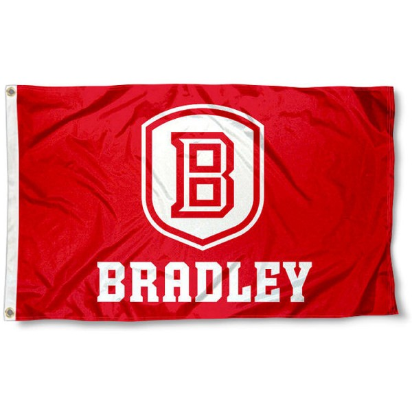 Bradley Braves Logo Outdoor Flag measures 3'x5', is made of 100% poly, has quadruple stitched sewing, two metal grommets, and has double sided Bradley University logos. Our Bradley Braves Logo Outdoor Flag is officially licensed by the selected university and the NCAA.