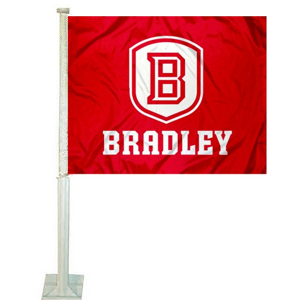 Bradley University Car Window Flag measures 12x15 inches, is constructed of sturdy 2 ply polyester, and has dye sublimated school logos which are readable and viewable correctly on both sides. Bradley University Car Window Flag is officially licensed by the NCAA and selected university.