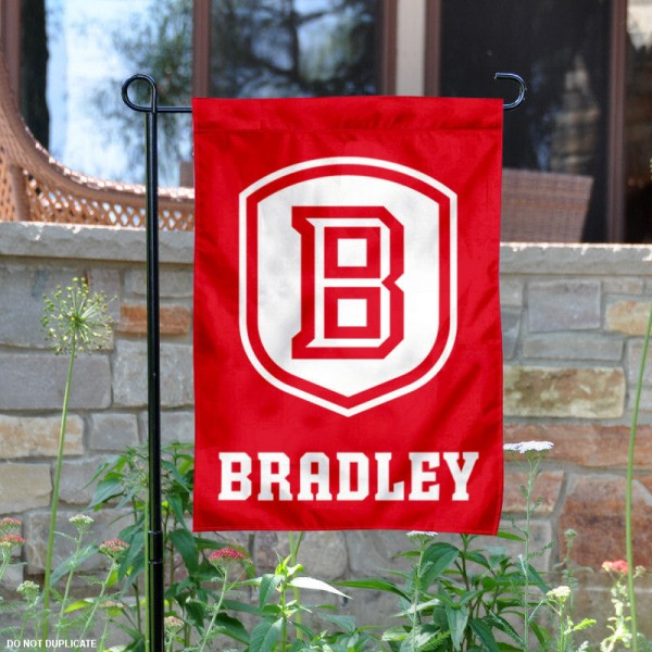 Bradley University Garden Flag is 13x18 inches in size, is made of 2-layer polyester, screen printed Bradley University athletic logos and lettering. Available with Same Day Express Shipping, Our Bradley University Garden Flag is officially licensed and approved by Bradley University and the NCAA.