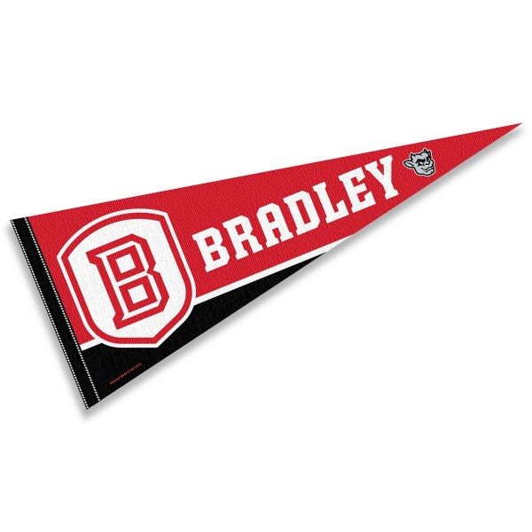 Bradley University Pennant Decorations consists of our full size pennant which measures 12x30 inches, is constructed of felt, is single sided imprinted, and offers a pennant sleeve for insertion of a pennant stick, if desired. This Bradley University Pennant Decorations is officially licensed by the selected university and the NCAA.
