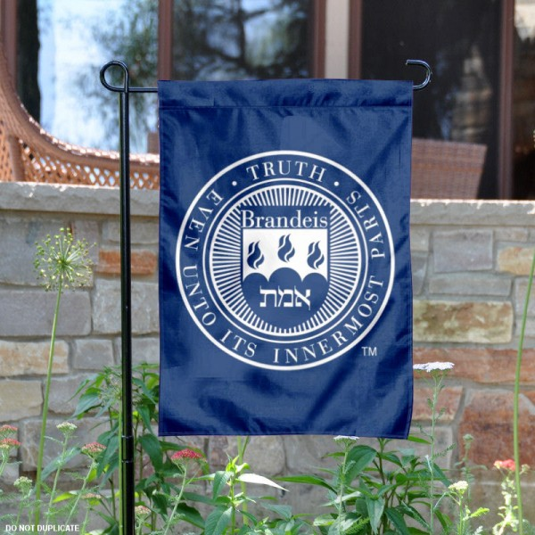 Brandeis Judges Crest Garden Flag is 13x18 inches in size, is made of 2-layer polyester, screen printed university athletic logos and lettering. Available with Same Day Express Shipping, our Brandeis Judges Crest Garden Flag is officially licensed and approved by the university and the NCAA.