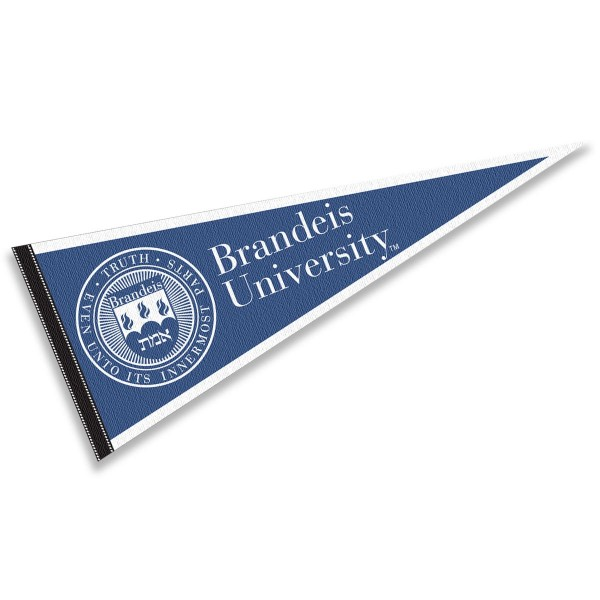 Brandeis University Judges Pennant consists of our full size sports pennant which measures 12x30 inches, is constructed of felt, is single sided imprinted, and offers a pennant sleeve for insertion of a pennant stick, if desired. This Brandeis University Judges Pennant Decorations is Officially Licensed by the selected university and the NCAA.