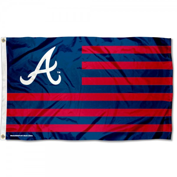 Braves Nation Flag measures 3x5 feet, is made of polyester, offers quad-stitched flyends, has two metal grommets, and is viewable from both sides with a reverse image on the opposite side. Our Braves Nation Flag is Genuine MLB Merchandise.