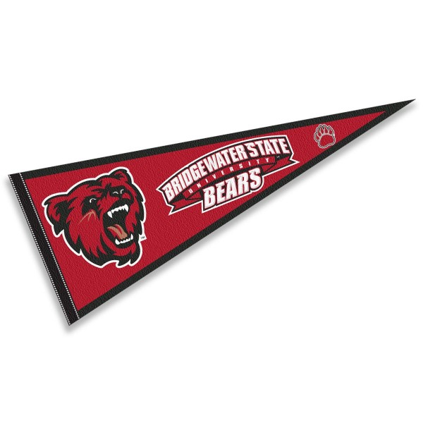 Bridgewater State University Bears Pennant consists of our full size sports pennant which measures 12x30 inches, is constructed of felt, is single sided imprinted, and offers a pennant sleeve for insertion of a pennant stick, if desired. This Bridgewater State University Bears Pennant Decorations is Officially Licensed by the selected university and the NCAA.