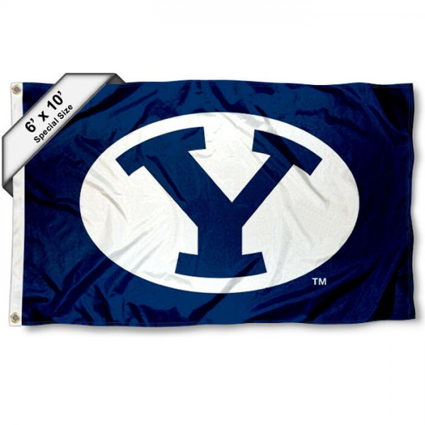 Brigham Young Cougars 6'x10' Flag measures 6x10 feet, is made of thick poly, has quadruple-stitched fly ends, and Brigham Young Cougars logos are screen printed into the Brigham Young Cougars 6'x10' Flag. This Brigham Young Cougars 6'x10' Flag is officially licensed by and the NCAA.