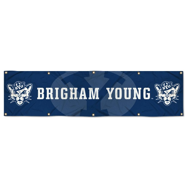 Brigham Young Cougars 8 Foot Large Banner measures 2x8 feet and displays Brigham Young Cougars logos. Our Brigham Young Cougars 8 Foot Large Banner is made of thick polyester and ten grommets around the perimeter for hanging securely. These banners for Brigham Young Cougars are officially licensed by the NCAA.