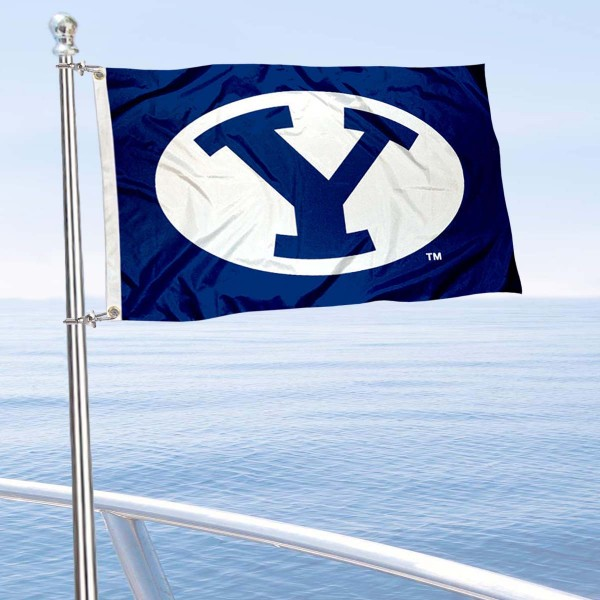 Brigham Young Cougars Boat and Mini Flag is 12x18 inches, polyester, offers quadruple stitched flyends for durability, has two metal grommets, and is double sided. Our mini flags for Brigham Young Cougars are licensed by the university and NCAA and can be used as a boat flag, motorcycle flag, golf cart flag, or ATV flag.
