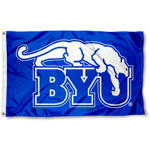 Brigham Young Cougars BYU Royal Blue Flag measures 3x5 feet, is made of 100% polyester, offers quadruple stitched flyends, has two metal grommets, and offers screen printed NCAA team logos and insignias. Our Brigham Young Cougars BYU Royal Blue Flag is officially licensed by the selected university and NCAA.