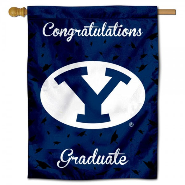 Brigham Young Cougars Congratulations Graduate Flag measures 30x40 inches, is made of poly, has a top hanging sleeve, and offers dye sublimated Brigham Young Cougars logos. This Decorative Brigham Young Cougars Congratulations Graduate House Flag is officially licensed by the NCAA.