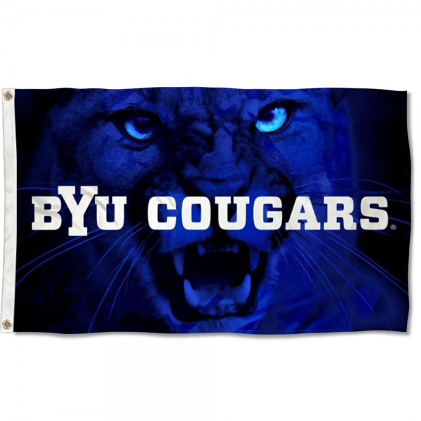 Brigham Young Cougars Cougar Eyes Flag measures 3x5 feet, is made of 100% polyester, offers quadruple stitched flyends, has two metal grommets, and offers screen printed NCAA team logos and insignias. Our Brigham Young Cougars Cougar Eyes Flag is officially licensed by the selected university and NCAA.