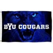 Brigham Young Cougars Cougar Eyes Flag
