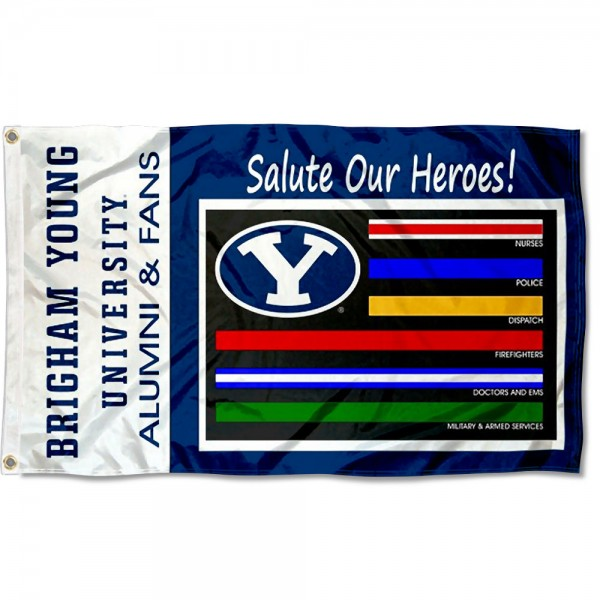 Brigham Young Cougars Essential Services Flag measures 3x5 feet, is made of 100% polyester, offers quadruple stitched flyends, has two metal grommets, and offers screen printed NCAA team logos and insignias. Our Brigham Young Cougars Essential Services Flag is officially licensed by the selected university and NCAA.