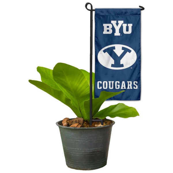 "Brigham Young Cougars Flower Pot Topper Flag kit includes our 4""x8"" mini garden banner and 6"" x 14"" mini garden banner stand. The mini flag is made of 1-ply polyester, has screen printed logos and the garden stand is made of steel and powder coated black. This kit is NCAA Officially Licensed by the selected college or university."
