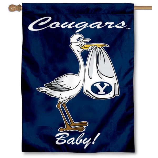 Brigham Young Cougars New Baby Flag measures 30x40 inches, is made of poly, has a top hanging sleeve, and offers dye sublimated Brigham Young Cougars logos. This Decorative Brigham Young Cougars New Baby House Flag is officially licensed by the NCAA.