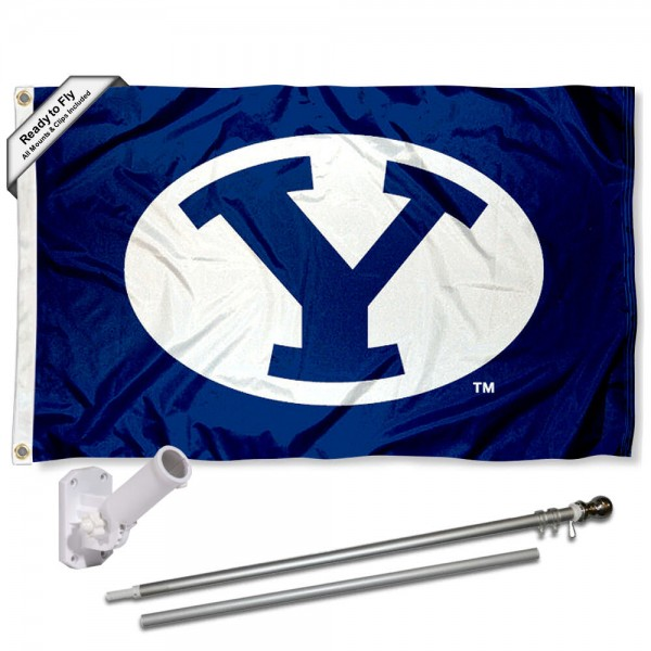 Brigham Young Cougars Oval Logo Flag Pole and Bracket Kit