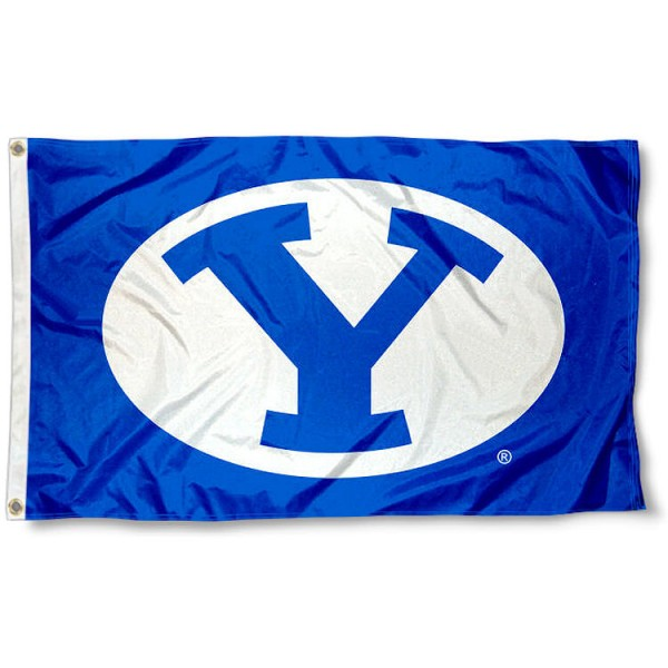 Brigham Young Cougars Royal Blue Flag measures 3x5 feet, is made of 100% polyester, offers quadruple stitched flyends, has two metal grommets, and offers screen printed NCAA team logos and insignias. Our Brigham Young Cougars Royal Blue Flag is officially licensed by the selected university and NCAA.