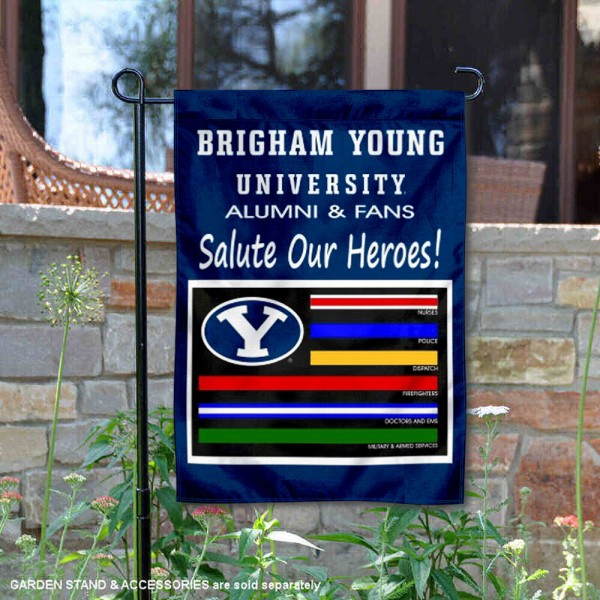 Brigham Young Cougars Salute Our Heroes Garden Flag is 13x18 inches in size, is made of 2-layer polyester, screen printed university athletic logos and lettering, and is readable and viewable correctly on both sides. Available with same day shipping, our Brigham Young Cougars Salute Our Heroes Garden Flag is officially licensed and team approved by the university and the NCAA.