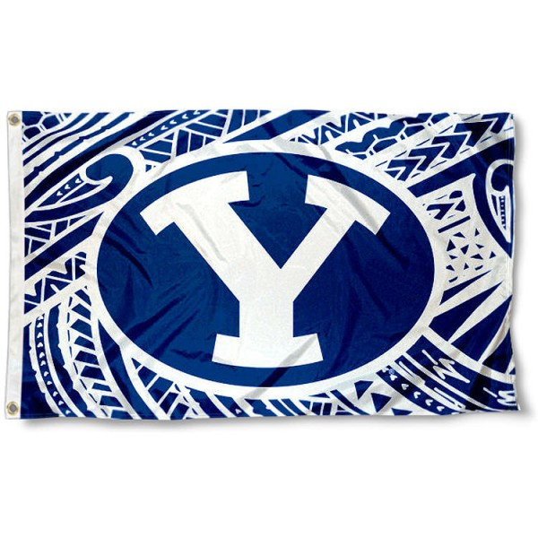 Brigham Young Cougars Samoan Flag measures 3x5 feet, is made of 100% polyester, offers quadruple stitched flyends, has two metal grommets, and offers screen printed NCAA team logos and insignias. Our Brigham Young Cougars Samoan Flag is officially licensed by the selected university and NCAA.