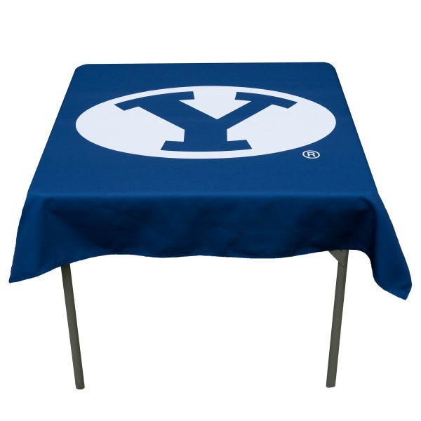Brigham Young Cougars Table Cloth measures 48 x 48 inches, is made of 100% Polyester, seamless one-piece construction, and is perfect for any tailgating table, card table, or wedding table overlay. Each includes Officially Licensed Logos and Insignias.