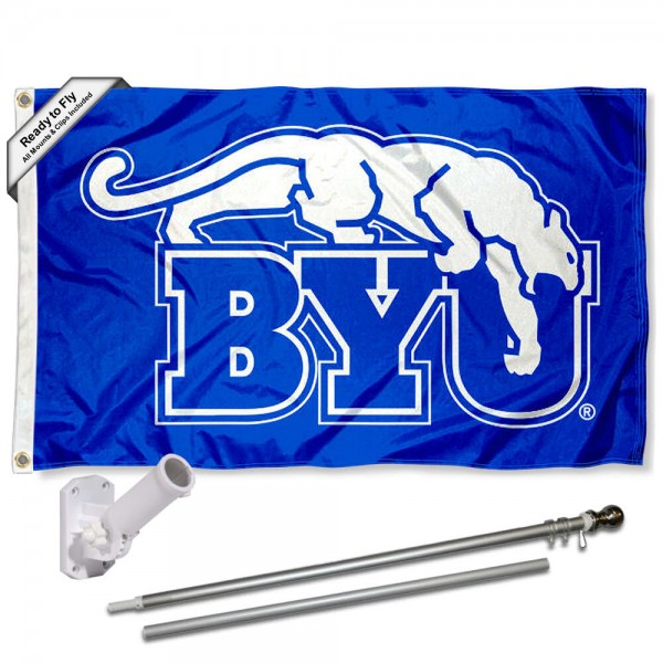 Our Brigham Young Cougars Vintage Retro Flag Pole and Bracket Kit includes the flag as shown and the recommended flagpole and flag bracket. The flag is made of polyester, has quad-stitched flyends, and the NCAA Licensed team logos are double sided screen printed. The flagpole and bracket are made of rust proof aluminum and includes all hardware so this kit is ready to install and fly.