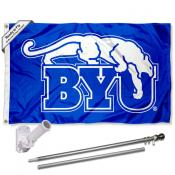 Brigham Young Cougars Vintage Retro Flag Pole and Bracket Kit