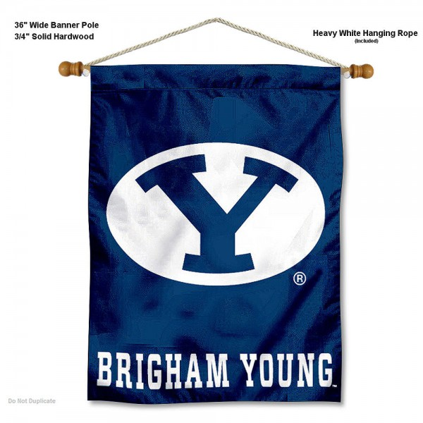 "Brigham Young Cougars Wall Banner is constructed of polyester material, measures a large 30""x40"", offers screen printed athletic logos, and includes a sturdy 3/4"" diameter and 36"" wide banner pole and hanging cord. Our Brigham Young Cougars Wall Banner is Officially Licensed by the selected college and NCAA."