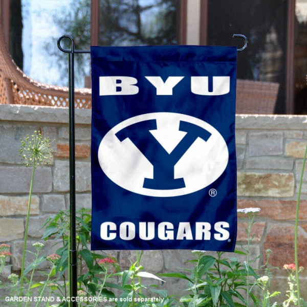 Brigham Young Cougars Wordmark Logo Garden Flag is 13x18 inches in size, is made of 2-layer polyester, screen printed university athletic logos and lettering, and is readable and viewable correctly on both sides. Available same day shipping, our Brigham Young Cougars Wordmark Logo Garden Flag is officially licensed and approved by the university and the NCAA.
