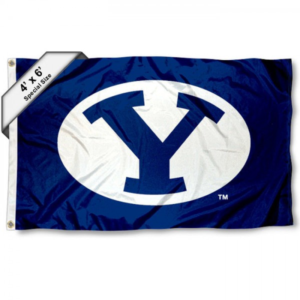 Brigham Young University 4x6 Flag measures 4x6 feet, is made thick woven polyester, has quadruple stitched flyends, two metal grommets, and offers screen printed NCAA Brigham Young University athletic logos and insignias. Our Brigham Young University 4x6 Flag is officially licensed by Brigham Young University and the NCAA.