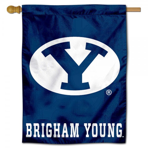 "Brigham Young University Decorative Flag is constructed of polyester material, is a vertical house flag, measures 30""x40"", offers screen printed athletic insignias, and has a top pole sleeve to hang vertically. Our Brigham Young University Decorative Flag is Officially Licensed by Brigham Young University and NCAA."