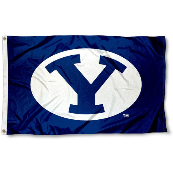 Brigham Young University Flag measures 3'x5', is made of 100% poly, has quadruple stitched sewing, two metal grommets, and has double sided Brigham Young University logos. Our Brigham Young University Flag is officially licensed by the selected university and the NCAA