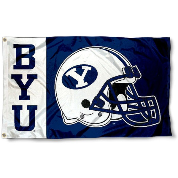 Brigham Young University Football Flag measures 3'x5', is made of 100% poly, has quadruple stitched sewing, two metal grommets, and has double sided Brigham Young University logos. Our Brigham Young University Football Flag is officially licensed by the selected university and the NCAA