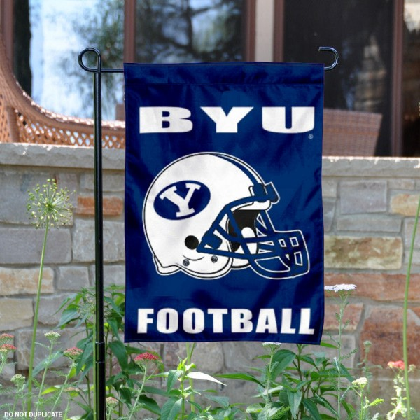 Brigham Young University Football Helmet Garden Banner is 13x18 inches in size, is made of 2-layer polyester, screen printed BYU Cougars athletic logos and lettering. Available with Same Day Express Shipping, Our Brigham Young University Football Helmet Garden Banner is officially licensed and approved by BYU Cougars and the NCAA.