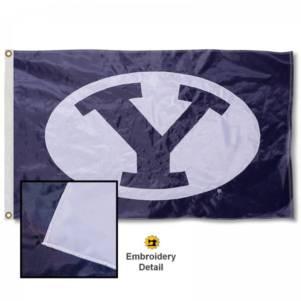 Brigham Young University Nylon Embroidered Flag measures 3'x5', is made of 100% nylon, has quadruple flyends, two metal grommets, and has double sided appliqued and embroidered University logos. These Brigham Young University 3x5 Flags are officially licensed by the selected university and the NCAA.